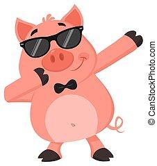 divertido, gafas de sol, hacha, carácter, dabbing, cerdo, ...