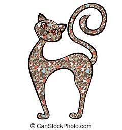 divertido, gato, caricatura, mosaico