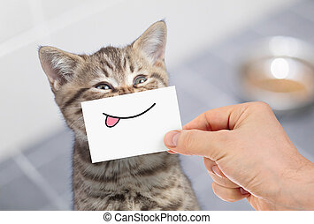divertido, gato, con, sonrisa, y, lengua, en, cartón