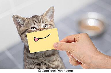 divertido, gato, con, sonrisa, y, lengua, en, cartón, sentado, cerca, alimento