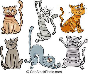 divertido, gatos, Conjunto, caricatura, Ilustración