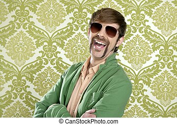 divertido, geek, vendedor, retro, bigote, hombre