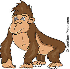divertido, gorila, caricatura