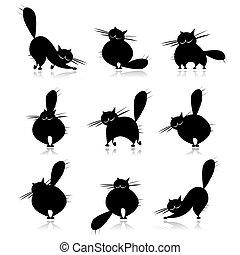 divertido, grasa, siluetas, gatos, negro, diseño, su