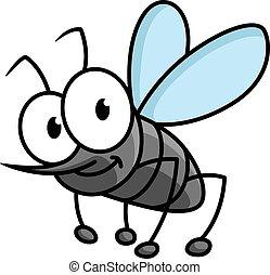 divertido, gris, carácter, mosquito, sonriente, caricatura