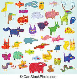 divertido, grunge, doodled, colores, colección, animales, pop-art