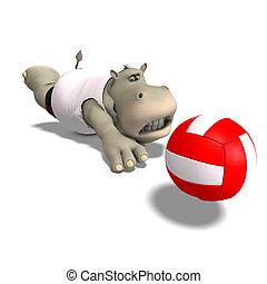 divertido, hipopótamo, juegos, voleibol