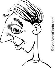 divertido, hombre, caricatura