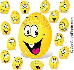 divertido, huevo de pascua, caricatura