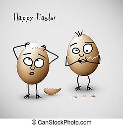 divertido, huevos, -, ilustración, vector, agrietado, pascua