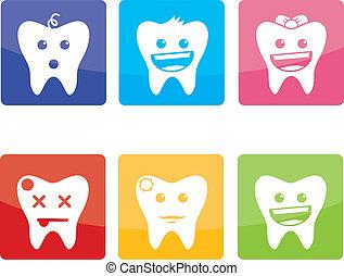 divertido, iconos, pediátrico, odontología