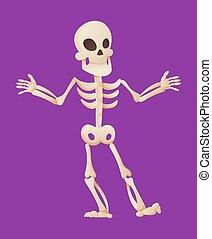 divertido, ilustración, esqueleto, skeletal., hombre, hands., plano de fondo, huesudo, el suyo, extensiones, character., vector, huesos, muerto, caricatura, color, humano