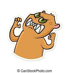 divertido, ilustración, pegatina, aislado, hamster., vector, mensajero, white., animal., enojado