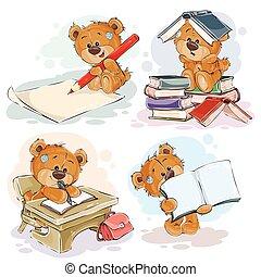 divertido, ilustraciones, para, tarjetas de felicitación, y,...
