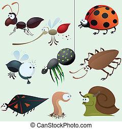 divertido, insecto, conjunto