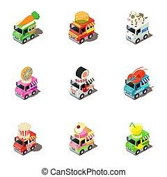 divertido, isométrico, iconos, conjunto, coche, estilo