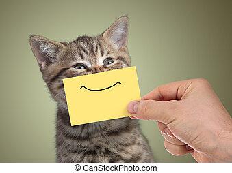 divertido, joven, gato, sonrisa, retrato, cartón, feliz