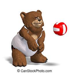 divertido, juegos, oso, voleibol