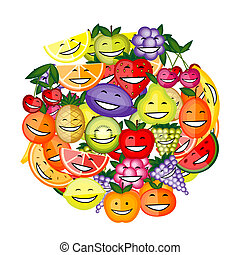 divertido, juntos, fruta, diseño, caracteres, sonriente, su