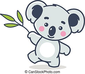 divertido, koala, blanco