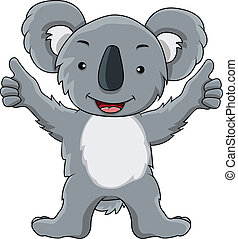divertido, koala, caricatura