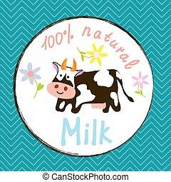 divertido, leche, vaca, etiqueta