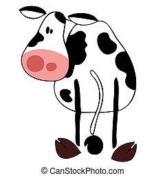 divertido, lechería, cow.