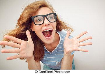 divertido, lente, de par en par, -, effec, manos, pelirrojo...