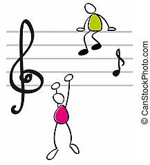 divertido, músicos