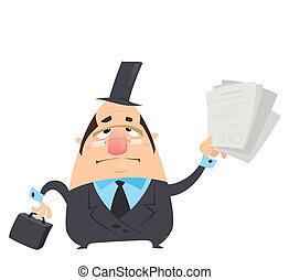 divertido, maletín, grasa, entregar, manera, negro, tenencia, traje, hombre, serio, convocar, sombrero, caricatura, abogado, anteojos