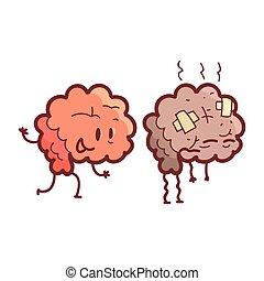 divertido, malsano, humano, órgano, comparación, sano, médico, carácter, dañado, contra, caricatura, cerebro, contra, enfermo, par, interno, anatómico, feliz