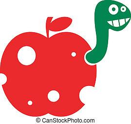 divertido, manzana, gusano