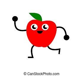 divertido, manzana, ilustración, bailando