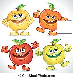 divertido, manzanas, caricatura