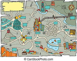 divertido, mapa del tesoro