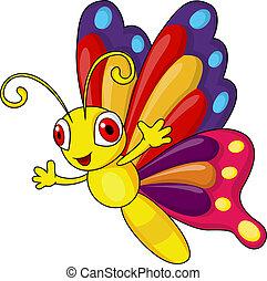 divertido, mariposa, caricatura