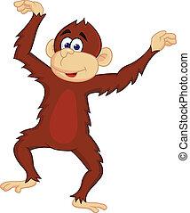 divertido, mono, bailando