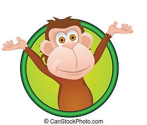 divertido, mono, caricatura