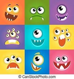 divertido, monstruo, expresiones,  vector, caras, caricatura