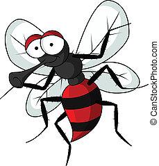 divertido, mosquito, caricatura