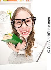 divertido, niña, libro, verde