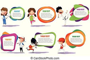 divertido, niño, caricatura, carácter, hacer, deporte