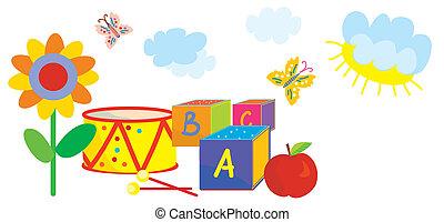 divertido, niños, naturaleza, flores, juguetes, jardín de la...