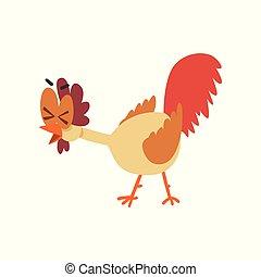 divertido, ojos, gallina, se carcajear, grande, cómico, carácter, ilustración, pájaro, pollo, vector, plano de fondo, blanco, caricatura