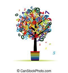 divertido, olla, árbol, diseño, digital, su