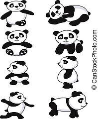 divertido, panda, colección