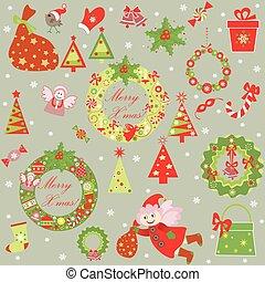divertido, papel pintado, navidad