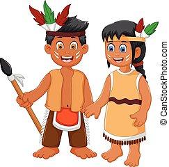 divertido, pareja, indio, tribal, caricatura