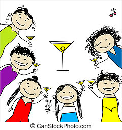 divertido, party!, diseño, gallina, amigos, su
