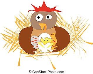 divertido, pascua, applique, con, gallina, huevos, y, pollo